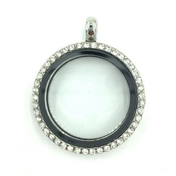 Round living memory floating locket with rhinestones - 29cm - Rhodium